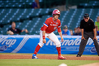 Jarred Kelenic (10) of Waukesha West High School in Waukesha, Wisconsin during the Under Armour All-American Game presented by Baseball Factory on July 29, 2017 at Wrigley Field in Chicago, Illinois.  (Mike Janes/Four Seam Images)