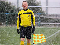 Assistant referee Tom Dillen pictured during a friendly female soccer game between SC Eendracht Aalst and Club Brugge YLA on Saturday 16 January 2021 at Zandberg Youth Complex in Aalst , Belgium . PHOTO SPORTPIX.BE   SPP   SEVIL OKTEM