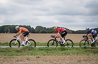 Mathieu van der Poel (NED/Alpecin-Fenix) ahead of Markus Hoelgaard (NOR/Uno-X) & Julian Alaphilippe (FRA/Deceuninck - Quick Step)<br /> <br /> Elite Men World Championships - Road Race<br /> from Antwerp to Leuven (268.3km)<br /> <br /> UCI Road World Championships - Flanders Belgium 2021<br /> <br /> ©kramon