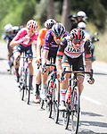The breakaway led by Ryan Gibbons (RSA) UAE Team Emirates during Stage 6 of La Vuelta d'Espana 2021, running 158.3km from Requena to Alto de la Montaña Cullera, Spain. 19th August 2021.    <br /> Picture: Charly Lopez/Unipublic   Cyclefile<br /> <br /> All photos usage must carry mandatory copyright credit (© Cyclefile   Unipublic/Charly Lopez)