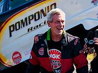 Oct 14, 2019; Concord, NC, USA; NHRA top alcohol funny car driver Dan Pomponio during the Carolina Nationals at zMax Dragway. Mandatory Credit: Mark J. Rebilas-USA TODAY Sports