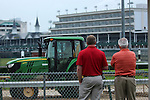 May 25, 2015 Rain fell in Louisville and the Churchill Downs track was sealed at 8:00 a.m. Belmont Stakes horses, including American Pharoah, were scheduled to gallop during a special period after the break.  ©Mary M. Meek/ESW/CSM