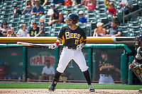 Rafael Lopez (17) of the Salt Lake Bees at bat against the Omaha Storm Chasers in Pacific Coast League action at Smith's Ballpark on August 16, 2015 in Salt Lake City, Utah. Omaha defeated Salt Lake 11-4. (Stephen Smith/Four Seam Images)