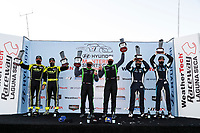 #7 Archangel Motorsports Aston Martin Vantage GT4, GS: Trent Hindman, Alan Brynjolfsson, #39 CarBahn with Peregrine racing Audi R8 GT4, GS: Tyler McQuarrie, Jeff Westphal, #60 KOHR MOTORSPORTS Aston Martin Vantage GT4, GS: Nate Stacy, Kyle Marcelli, podium