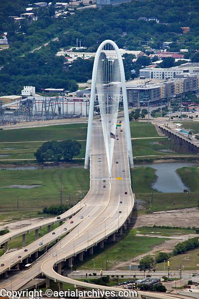 aerial photograph of the Margaret Hunt Hill Bridge, Dallas, Texas