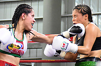 "MONTERIA - COLOMBIA, 19-05-2018: la boxeadora Yazmín ""La rusita ""Rivas (Izq.) de México , conecta un jab de izquierda a la  colombiana  Liliana ""La Tigresa"" Palmera . La mexicana  ganó por nocaut técnico en el quinto asalto  el título Mundial Supergallo AMB en   el coliseo ""Happy Lora "" de esta ciudad   ./ boxer Yazmín ""La rusita"" Rivas (L) from Mexico connects a Left jab to the Colombian Liliana ""La Tigresa"" Palmera, the Mexican won by technical knockout in the fifth round the WBA Super Bantamweight title in the ""Happy Lora"" coliseum of this city. Photo: VizzorImage / Andrés Felipe López Vargas / Contribuidor"