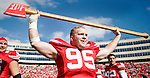 University of Wisconsin senior linebacker Joe Monty hoists ?Paul Bunyan?s Ax? over his head after the Badgers defeated the Minnesota.Golden Gophers 48-12 on Oct. 14, 2006. The ax is a trophy fought over annually by the Badgers and Golden Gophers and is one of the most contested trophies in the Big Ten Conference.
