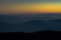 The sky glows brightly in the western sky in the hour after sunset from Clingman's Dome, Great Smoky Mountains National Park