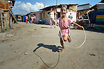 A boy skips rope in Suto Orizari, Macedonia. The mostly Roma community, located just outside Skopje, is Europe's largest Roma settlement. .