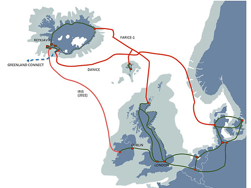 A map showing the new cable route between Iceland and Ireland that could be operational within two years