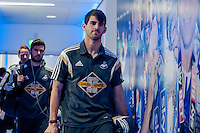 LEICESTER, ENGLAND - APRIL 18: Nelson Oliveira of Swansea City  arrives at the King Power Stadium prior to the Premier League match between Leicester City and Swansea City at The King Power Stadium on April 18, 2015 in Leicester, England.  (Photo by Athena Pictures/Getty Images)