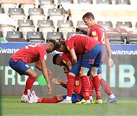 Huddersfield Town's Josh Koroma celebrates scoring his side's second goal with team-mates<br /> <br /> Photographer Ian Cook/CameraSport<br /> <br /> The EFL Sky Bet Championship - Swansea City v Huddersfield Town - Saturday 17th October 2020 - Liberty Stadium - Swansea<br /> <br /> World Copyright © 2020 CameraSport. All rights reserved. 43 Linden Ave. Countesthorpe. Leicester. England. LE8 5PG - Tel: +44 (0) 116 277 4147 - admin@camerasport.com - www.camerasport.com