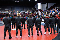 STANFORD, CA - March 7, 2020: The Stanford Wresting team is announced during the Grand March during the 2020 Pac-12 Wrestling Championships at Maples Pavilion.