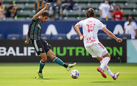 CARSON, CA - APRIL 25: Ethan Zubak #29 of the Los Angeles Galaxy takes a shot during a game between New York Red Bulls and Los Angeles Galaxy at Dignity Health Sports Park on April 25, 2021 in Carson, California.