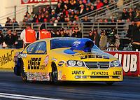 Feb 7, 2014; Pomona, CA, USA; NHRA pro stock driver Jeg Coughlin Jr during qualifying for the Winternationals at Auto Club Raceway at Pomona. Mandatory Credit: Mark J. Rebilas-