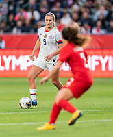CARSON, CA - FEBRUARY 9: Lindsey Horan #9 of the United States dribbles during a game between Canada and USWNT at Dignity Health Sports Park on February 9, 2020 in Carson, California.
