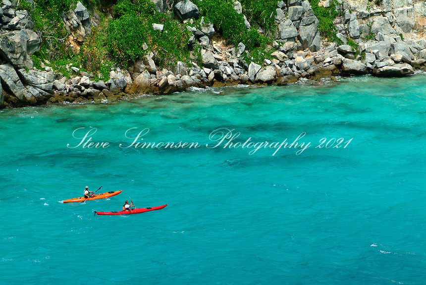 Aerial view of two sea kayakers<br /> on the back side of Congo Cay<br /> U.S. Virgin Islands