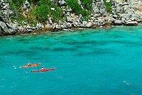 Aerial view of two sea kayakers<br />