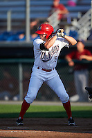 Auburn Doubledays left fielder Jack Sundberg (5) at bat during a game against the Mahoning Valley Scrappers on July 17, 2016 at Falcon Park in Auburn, New York.  Mahoning Valley defeated Auburn 3-2.  (Mike Janes/Four Seam Images)