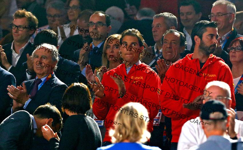 Rafael Nadal and Juan Carlos Navarro during European championship basketball final match between Spain and Lithuania on September 20, 2015 in Lille, France  (credit image & photo: Pedja Milosavljevic / STARSPORT)