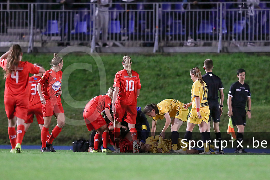 Standard's Lola Wajnblum (11) injured on the ground during a female soccer game between FC Femina WS Woluwe and Standard Femina de Liege on the fourth match day of the 2020 - 2021 season of Belgian Womens Super League , Friday 8th of October 2020  in Liege , Belgium . PHOTO SPORTPIX.BE | SPP | SEVIL OKTEM