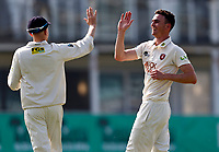 Nathan Gilchrist (R) of Kent is congratulated by Jordan Cox after taking the wicket of Jack Haynes during Kent CCC vs Worcestershire CCC, LV Insurance County Championship Division 3 Cricket at The Spitfire Ground on 5th September 2021