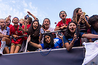 PASADENA, CA - AUGUST 4: Fans cheer during a game between Ireland and USWNT at Rose Bowl on August 3, 2019 in Pasadena, California.