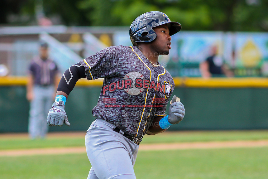 Quad Cities River Bandits outfielder Ronnie Dawson (12) rounds first base during a Midwest League game against the Beloit Snappers on June 18, 2017 at Pohlman Field in Beloit, Wisconsin.  Quad Cities defeated Beloit 5-3. (Brad Krause/Four Seam Images)