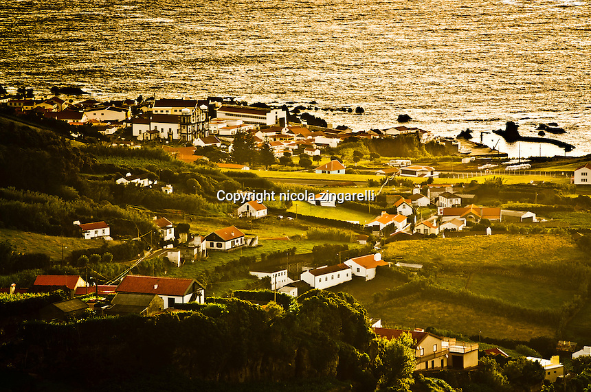 View of the city of Santa Cruz das Flores, the capital of the little island of the Azores
