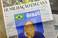 The front pages of the Brazilian newspapers report on the humiliation and disappointment of last nights defeat to Germany