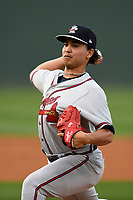 Starting pitcher Odalvi Javier (51) of the Rome Braves delivers a pitch in a game against the Greenville Drive on Saturday, April 14, 2018, at Fluor Field at the West End in Greenville, South Carolina. Rome won, 4-0. (Tom Priddy/Four Seam Images)