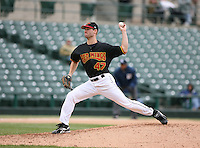 2007:  Jason Miller of the Rochester Red Wings delivers a pitch at Frontier Field during a International League baseball game. Photo By Mike Janes/Four Seam Images