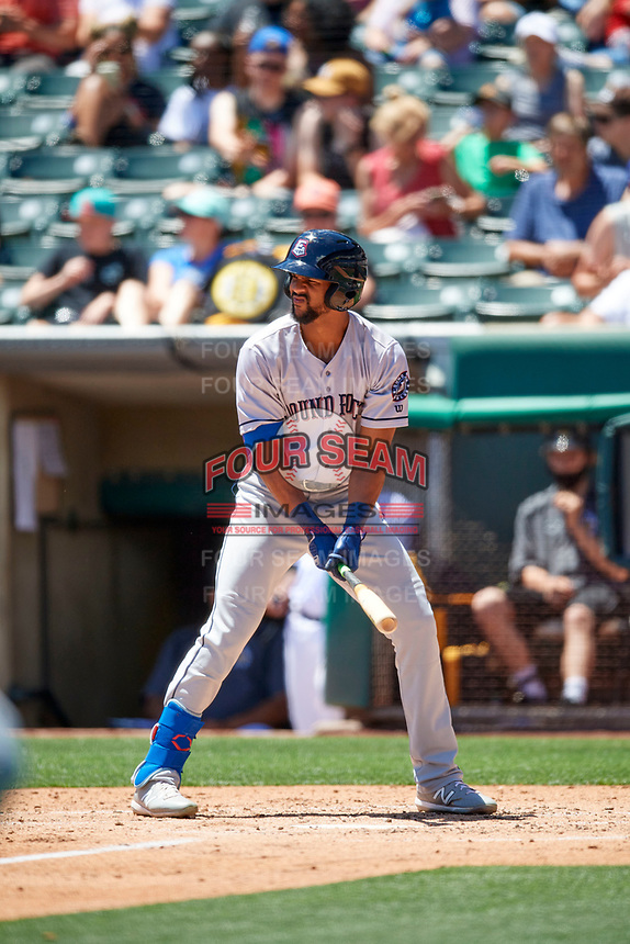 Leody Taveras (3) of the Round Rock Express at bat against the Salt Lake Bees at Smith's Ballpark on May 31, 2021 in Salt Lake City, Utah. The Express defeated the Bees 8-6. (Stephen Smith/Four Seam Images)