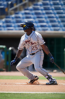 Lakeland Flying Tigers right fielder Daz Cameron follows through on a swing during a game against the Clearwater Threshers on May 2, 2018 at Spectrum Field in Clearwater, Florida.  Clearwater defeated Lakeland 7-5.  (Mike Janes/Four Seam Images)