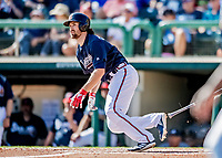 25 February 2019: Atlanta Braves infielder Charlie Culberson gets an RBI single to tie the game at 3 in the 4th inning of a pre-season Spring Training game against the Washington Nationals at Champion Stadium in the ESPN Wide World of Sports Complex in Kissimmee, Florida. The Braves defeated the Nationals 9-4 in Grapefruit League play in what will be their last season at the Disney / ESPN Wide World of Sports complex. Mandatory Credit: Ed Wolfstein Photo *** RAW (NEF) Image File Available ***