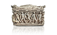 """Roman relief sculpted Hercules sarcophagus with kline couch lid, """"Columned Sarcophagi of Asia Minor"""" style typical of Sidamara, 250-260 AD, Konya Archaeological Museum, Turkey. Against a white background."""
