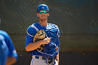 Toronto Blue Jays catcher Hagen Danner (26) during a Minor League Spring Training game against the Philadelphia Phillies on March 29, 2019 at the Carpenter Complex in Clearwater, Florida.  (Mike Janes/Four Seam Images)