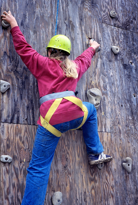 Student on climbing wall at Hancock Field Station, Oregon.