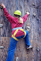 Student on climbing wall at Hancock Field Station, Oregon.