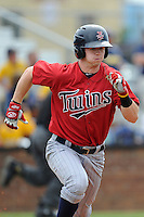 Center fielder Austin Diemer (11) of the Elizabethton Twins in a game against the Johnson City Cardinals on Sunday, July 27, 2014, at Howard Johnson Field at Cardinal Park in Johnson City, Tennessee. The game was suspended due to weather in the fifth inning. (Tom Priddy/Four Seam Images)