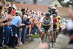 World Champion Peter Sagan (SVK) Bora-Hansgrohe on the front with 25km to the finish during the 116th edition of Paris-Roubaix 2018. 8th April 2018.<br /> Picture: ASO/Pauline Ballet | Cyclefile<br /> <br /> <br /> All photos usage must carry mandatory copyright credit (© Cyclefile | ASO/Pauline Ballet)