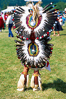 Native American Indian Fancy Dancer in Traditional Regalia at a Pow Wow on the Tsartlip Indian Reserve, near Brentwood Bay on Vancouver Island, British Columbia, Canada