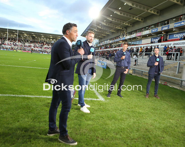 Friday 24th September 2021<br /> <br /> Graham Little and the Premier Sport broadcast team during the URC Round 1 clash between Ulster Rugby and Glasgow Warriors at Kingspan Stadium, Ravenhill Park, Belfast, Northern Ireland. Photo by John Dickson/Dicksondigital