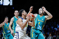 July 14, 2016: DORIAN PICKENS (11) of the Stanford Cardinal goes to the basket during game 2 of the Australian Boomers Farewell Series between the Australian Boomers and the American PAC-12 All-Stars at Hisense Arena in Melbourne, Australia. Sydney Low/AsteriskImages.com