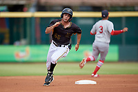 Bradenton Marauders Daniel Amaral (43) running the bases during a Florida State League game against the Palm Beach Cardinals on May 10, 2019 at LECOM Park in Bradenton, Florida.  Bradenton defeated Palm Beach 5-1.  (Mike Janes/Four Seam Images)