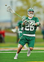 24 April 2012: Dartmouth College Big Green attacker Nikki Dysenchuk, a Junior from Darien, CT, in action against the University of Vermont Catamounts at Virtue Field in Burlington, Vermont. The Big Green defeated the Catamounts 10-5 in Men's Varsity Lacrosse action. Mandatory Credit: Ed Wolfstein Photo