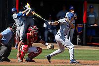 Cameron Newell #12 of the UC Santa Barbara Gauchos bats against the Cal State Northridge Matadors at Matador Field on May 10, 2013 in Northridge, California. UC Santa Barbara defeated Cal State Northridge, 6-1. (Larry Goren/Four Seam Images)
