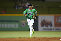 Gwinnett Stripers outfielder Cristian Pache (15) jogs off the field between innings of the game against the Scranton/Wilkes-Barre RailRiders at Coolray Field on August 16, 2019 in Lawrenceville, Georgia. The Stripers defeated the RailRiders 5-2. (Brian Westerholt/Four Seam Images)