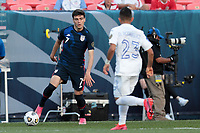 DENVER, CO - JUNE 3: Giovanni Reyna #7 of the United States looks to move with the ball during a game between Honduras and USMNT at EMPOWER FIELD AT MILE HIGH on June 3, 2021 in Denver, Colorado.