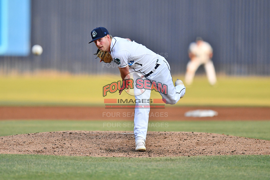 Asheville Tourists starting pitcher Colten Schmidt (1) delivers a pitch during a game against the Augusta GreenJackets at McCormick Field on June 5, 2019 in Asheville, North Carolina. The Tourists defeated the GreenJackets 4-3. (Tony Farlow/Four Seam Images)